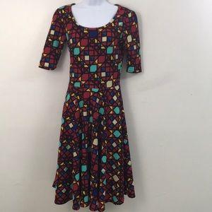 Fabulously fun geo fit n flare LuLaRoe dress